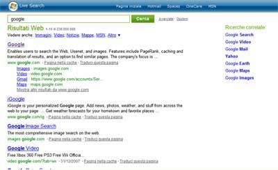 Msn ricerca Google